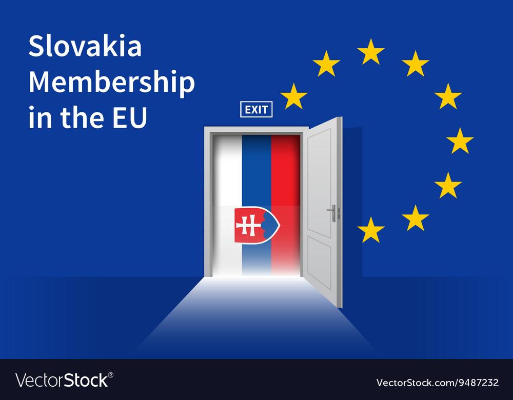 6f568f8108 European Union flag wall with Slovakia flag door Vector Image