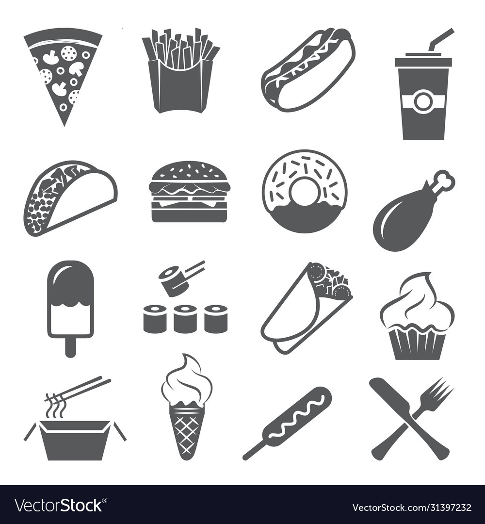 Fast food icons set on white background