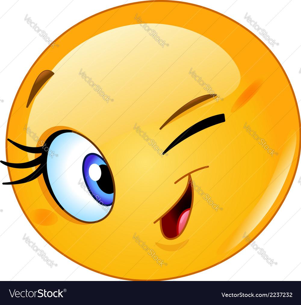 Female emoticon winking vector image