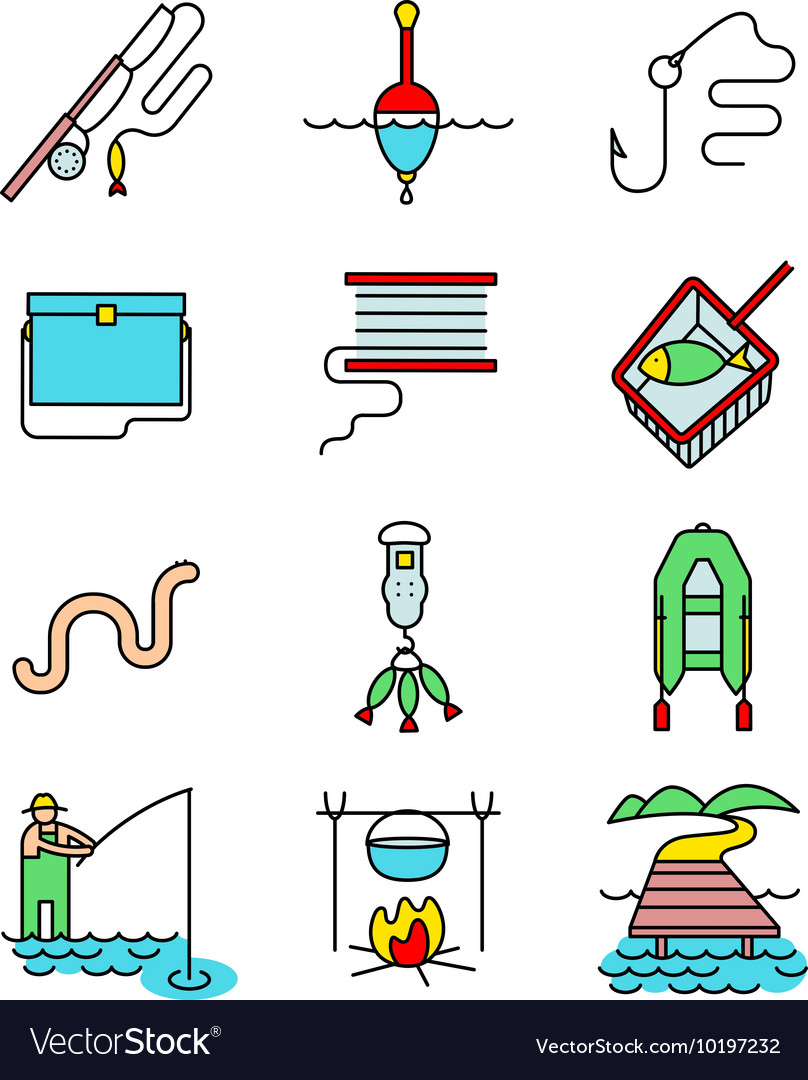 Fishing hobby line art thin and simply icons set