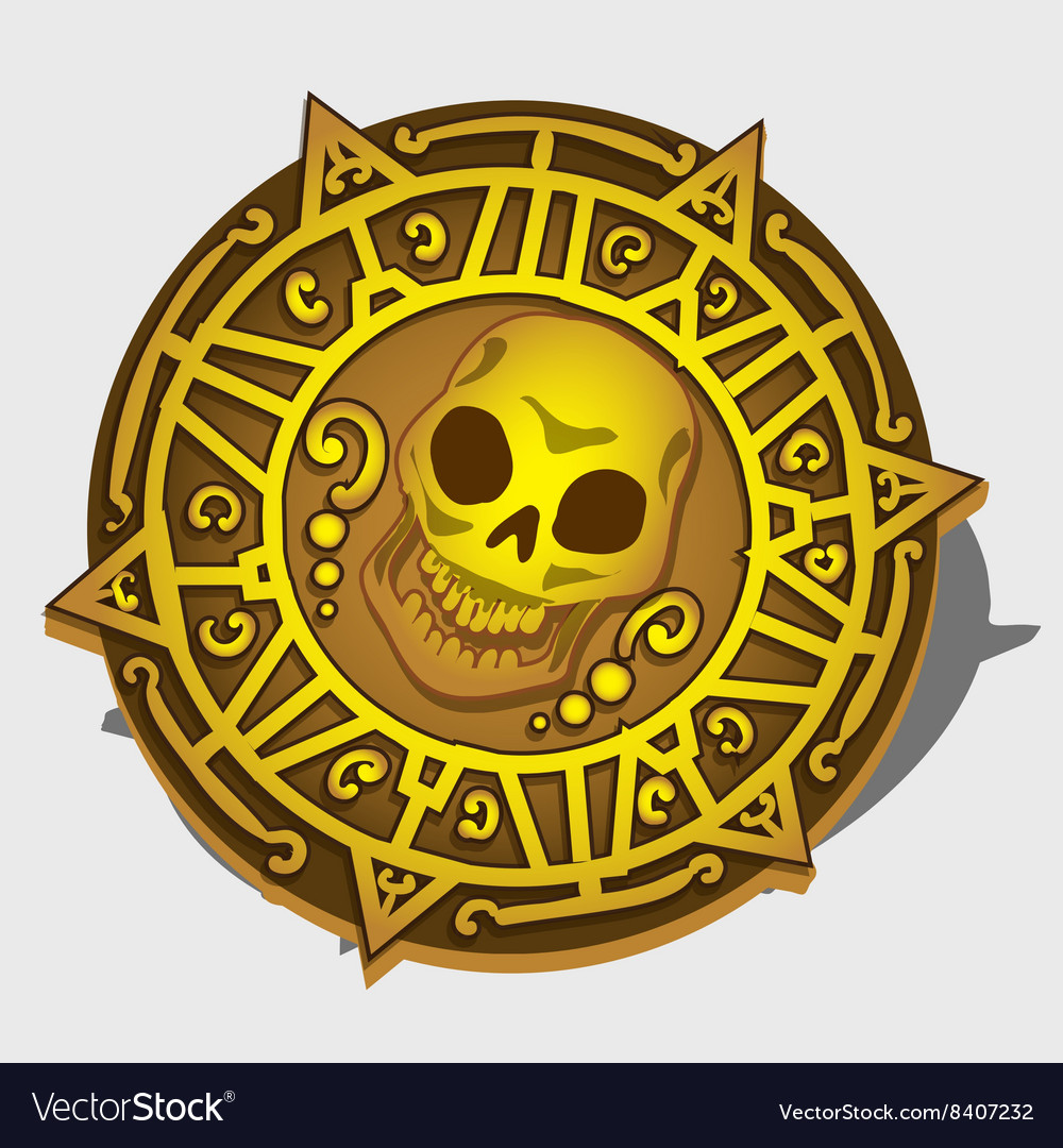 Golden pirate medallion with symbol of the skull vector image