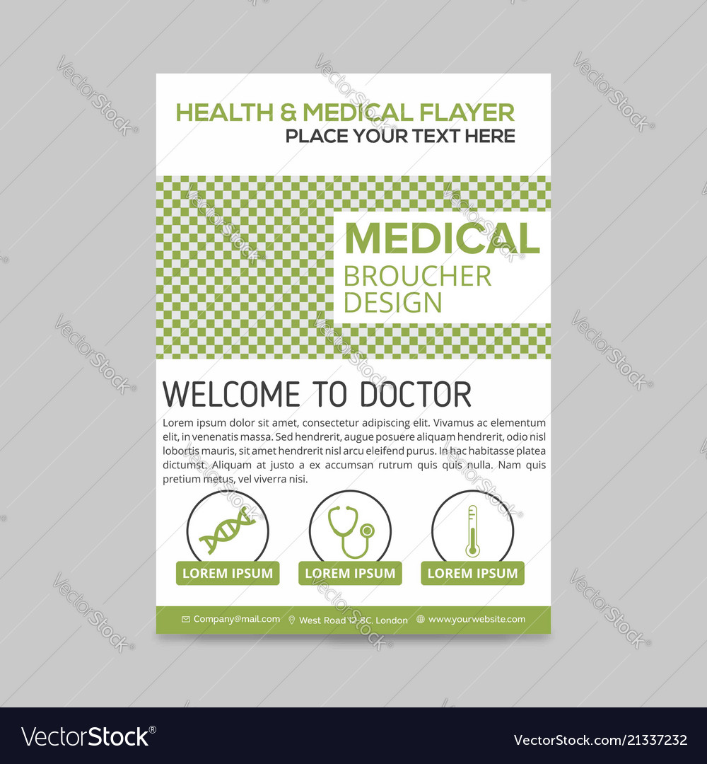 green and white medical flyer layout template vector image