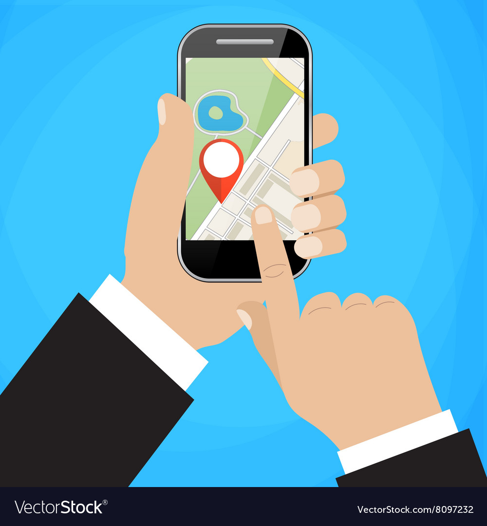 Hand holds smartphone with city map vector image