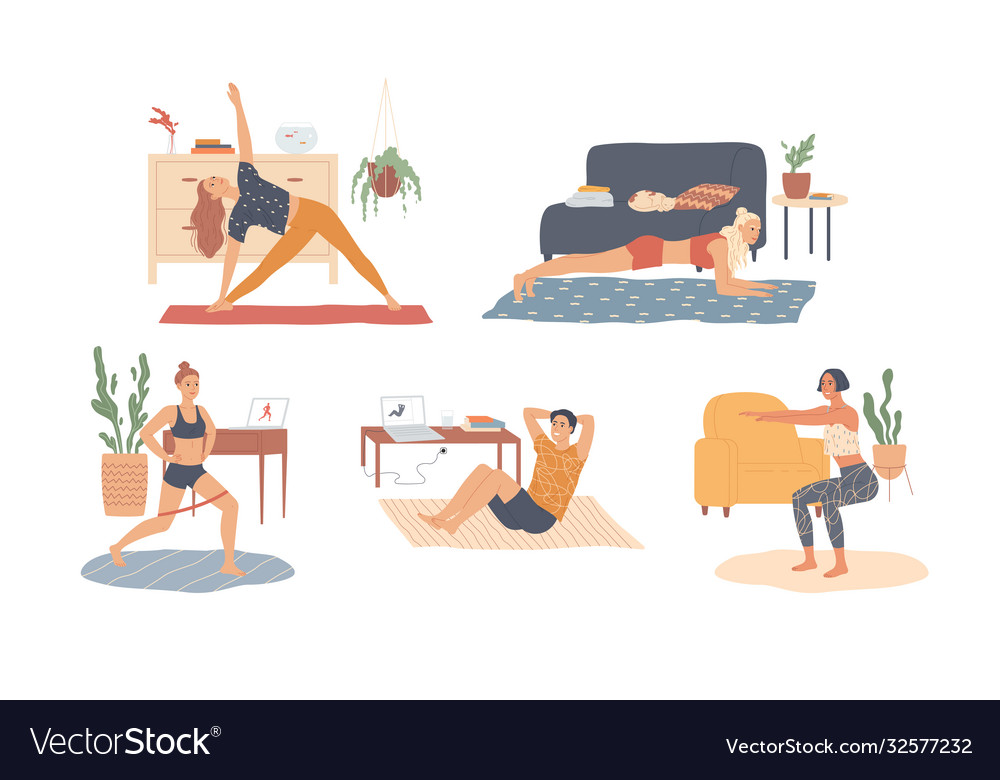 People at home are exercising workout training