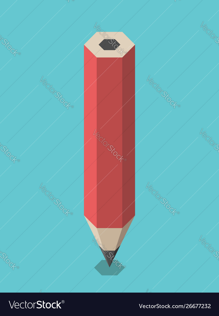 Red isometric pencil standing