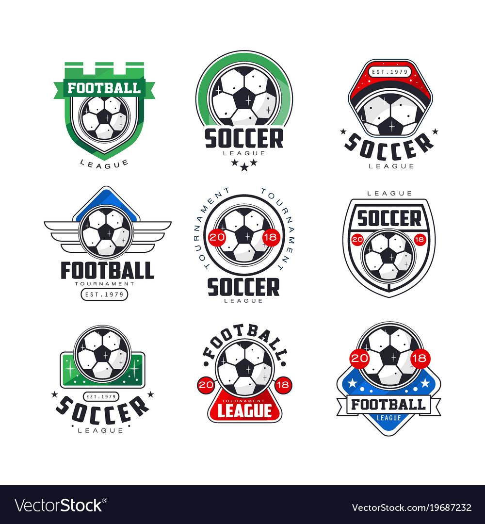 Soccer league or tournament logo templates set
