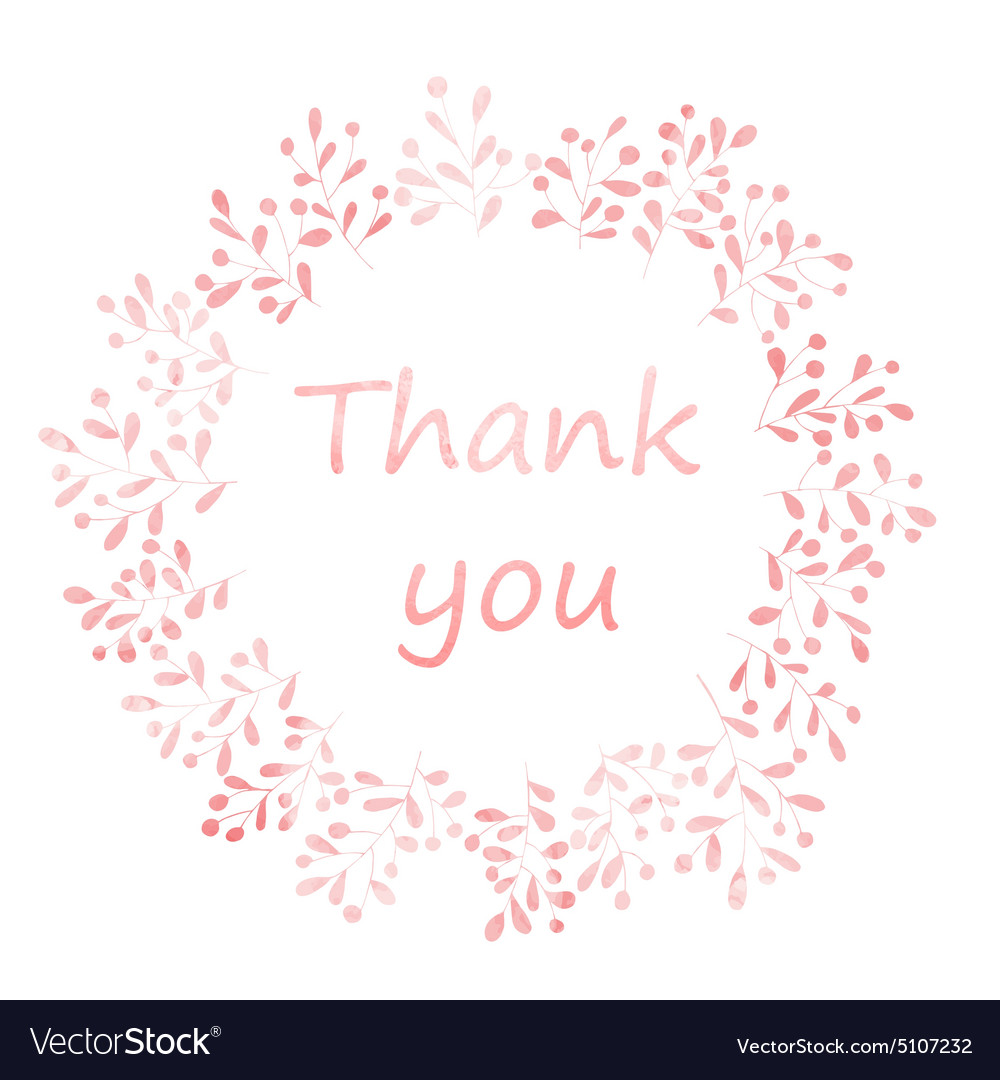thank you card with watercolor wreath royalty free vector