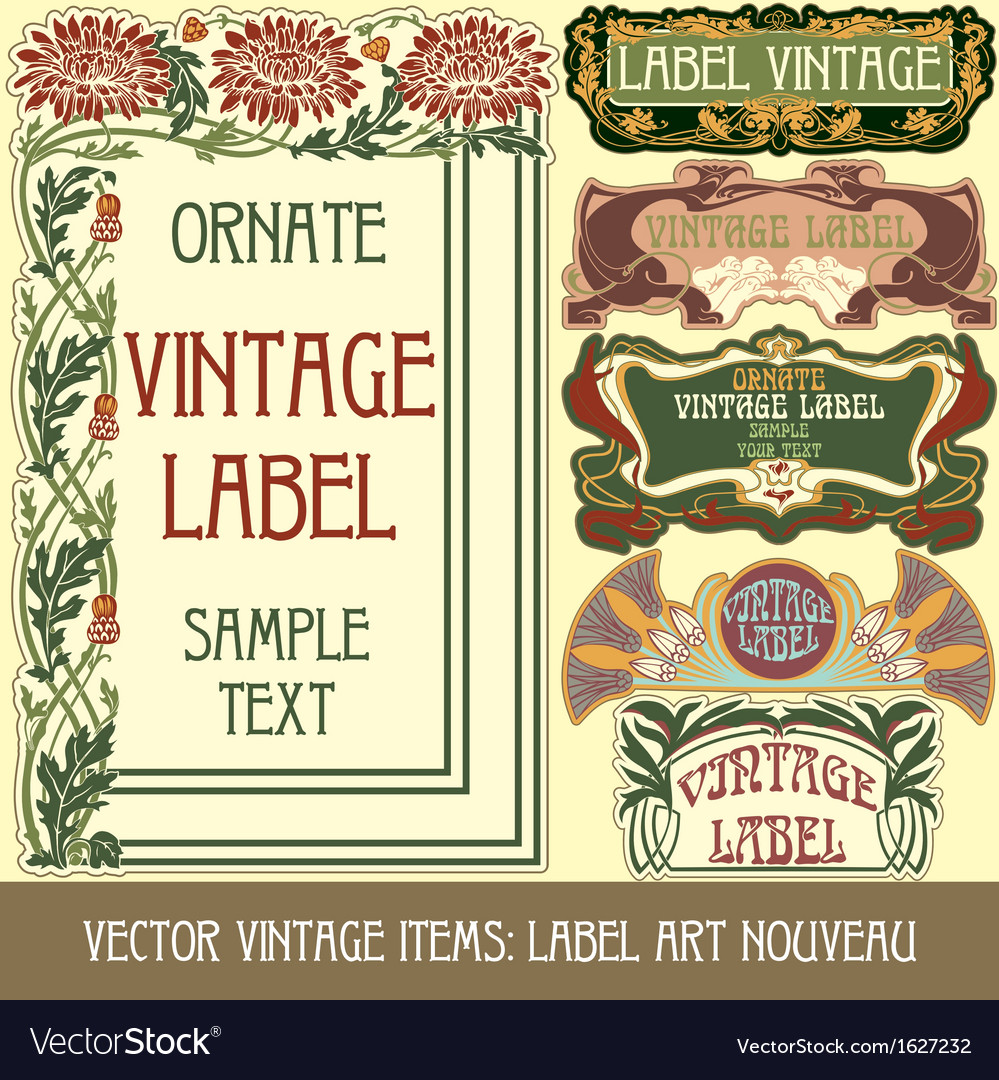 Vintage items - label art nouveau