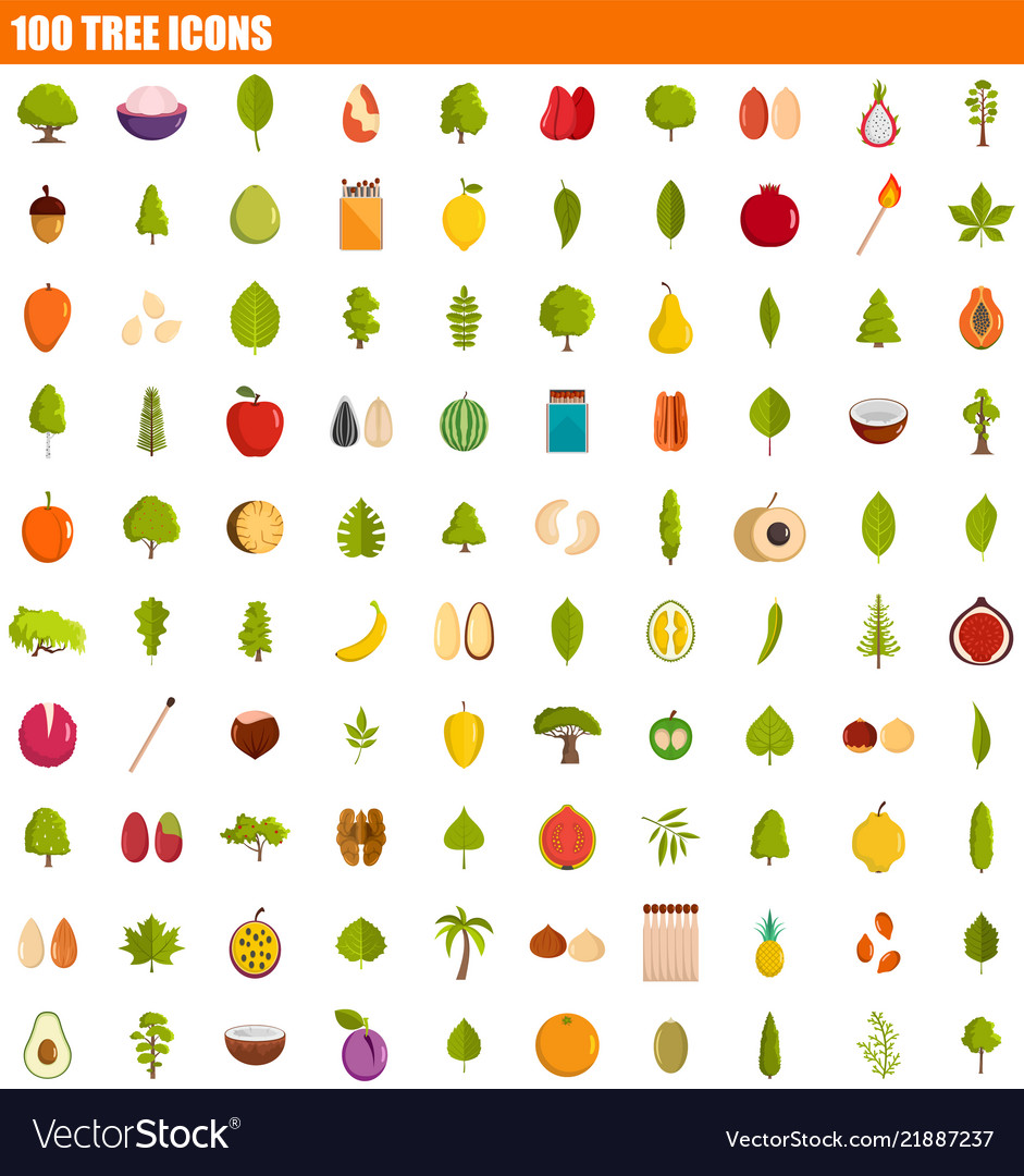 100 tree icon set flat style