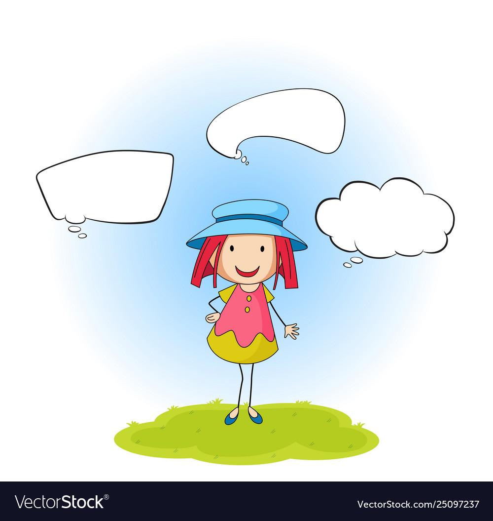 A doodle girl with speech balloon
