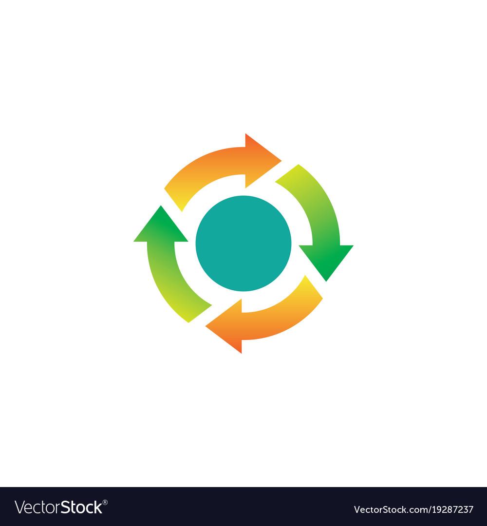 Circle spinning arrows logo