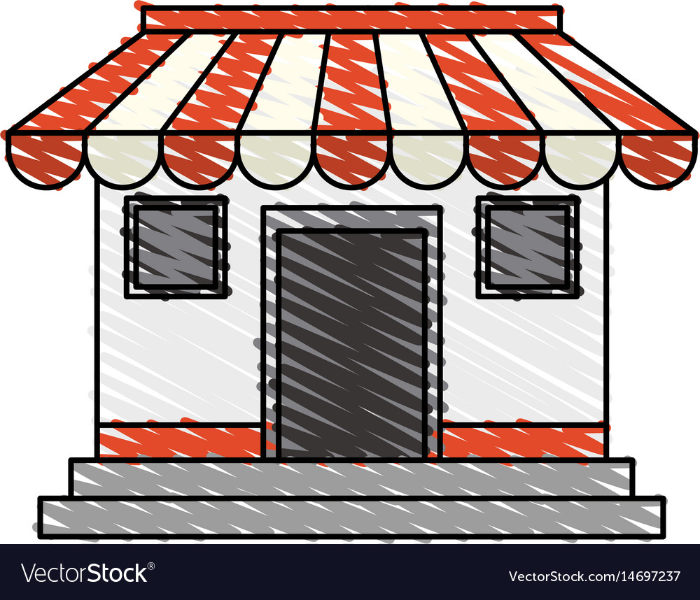 Color crayon stripe cartoon facade shop store vector image