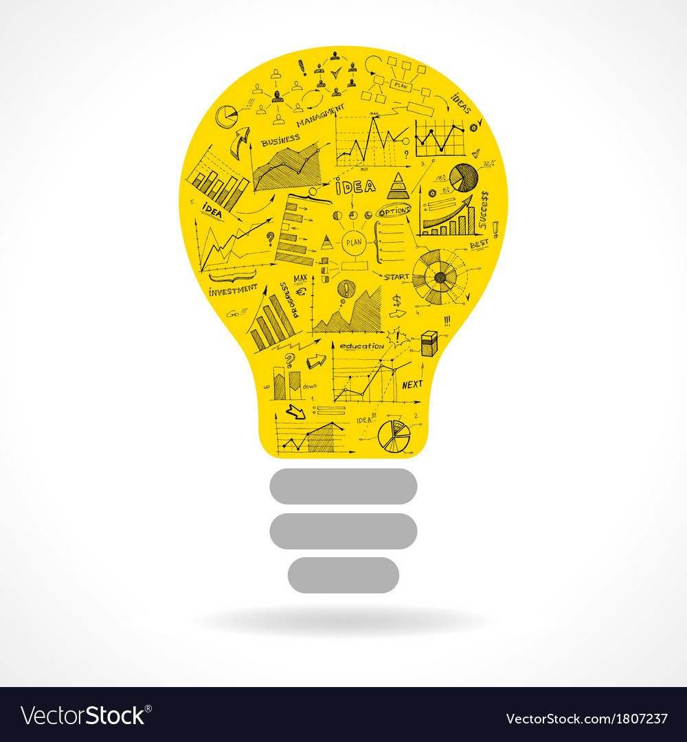 Doodle idea lightbulb icon with infographics