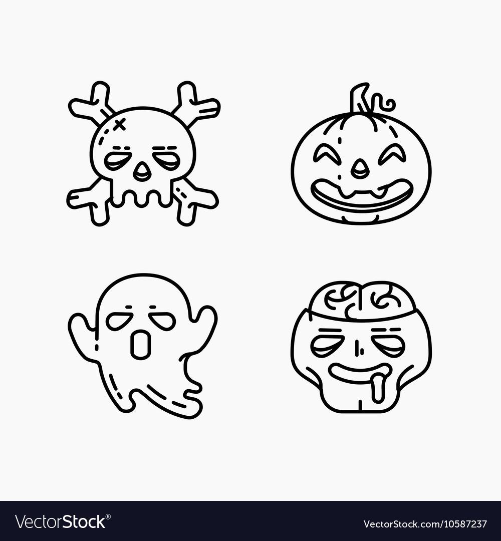 Flat linear Halloween icons set