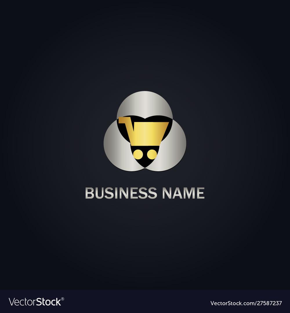 Gold shopping cart business logo