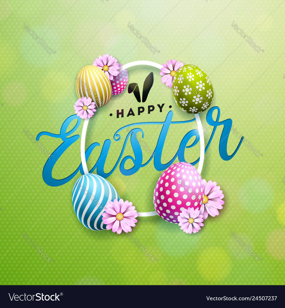 Happy easter with colorful flower and