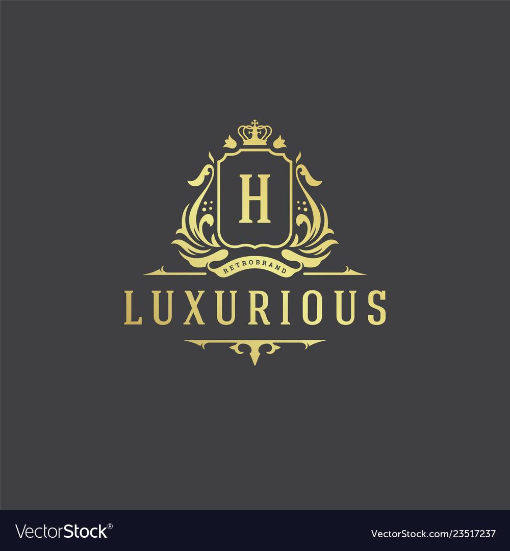 Luxury logo monogram crest template design