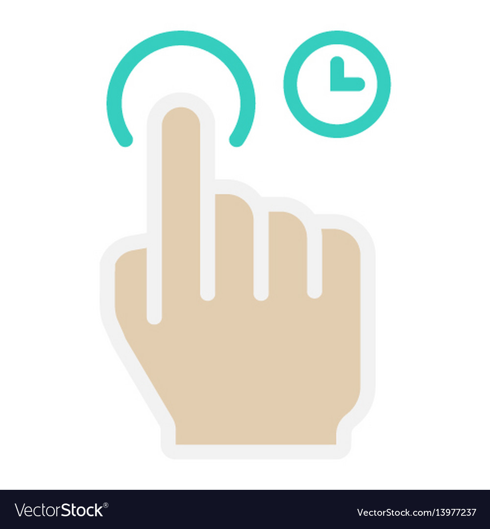 Press and hold flat icon touch and hand gestures