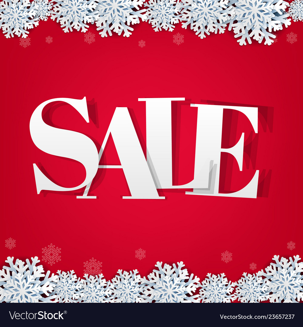 Red sale background with snowflake