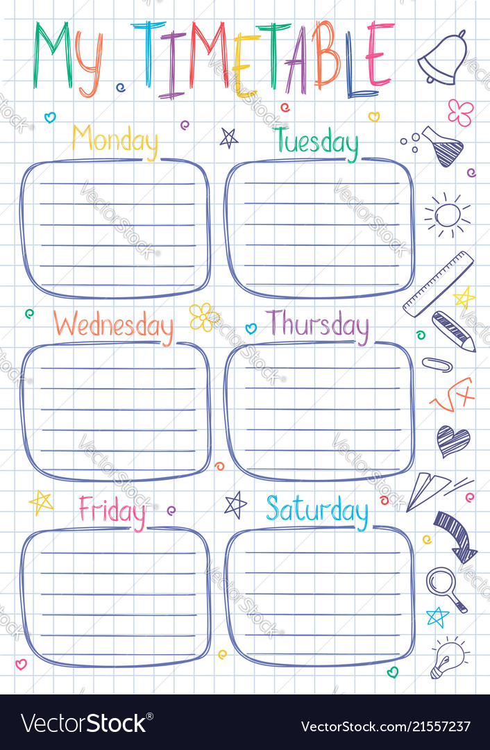 Timetable Template | School Timetable Template On Copy Book Sheet Vector Image
