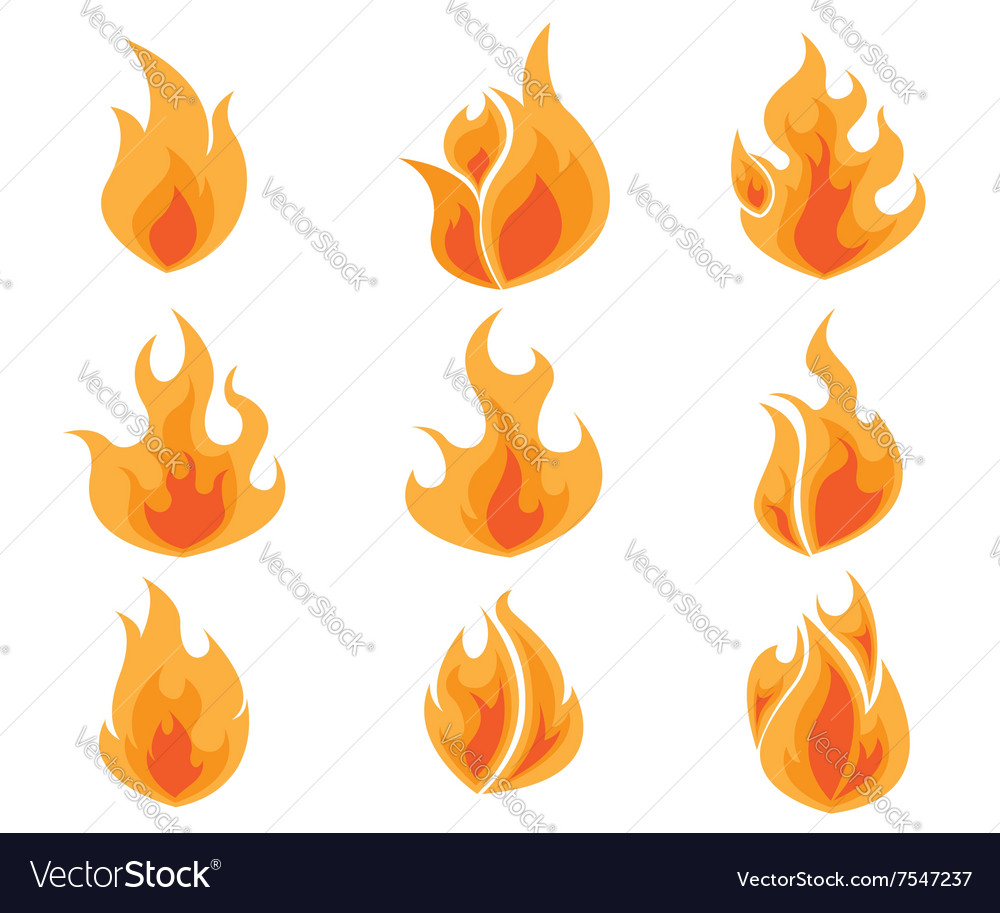 Set of Fire Flames Icon