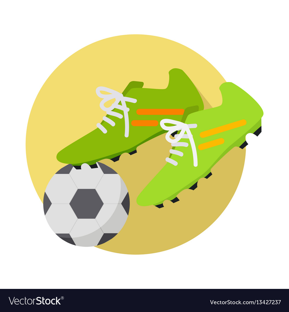 Soccer ball with boots flat
