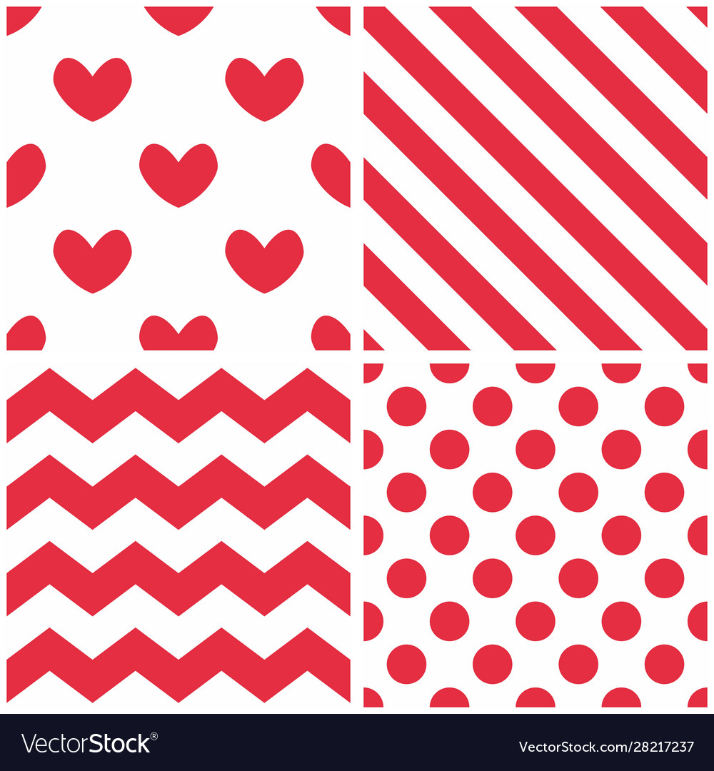 Tile pattern set with red and white background