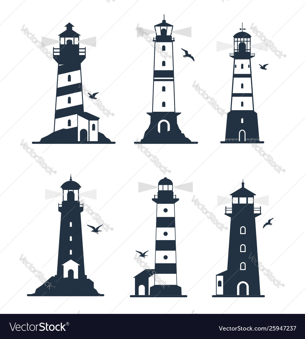 Various lighthouse marine labels and emblems