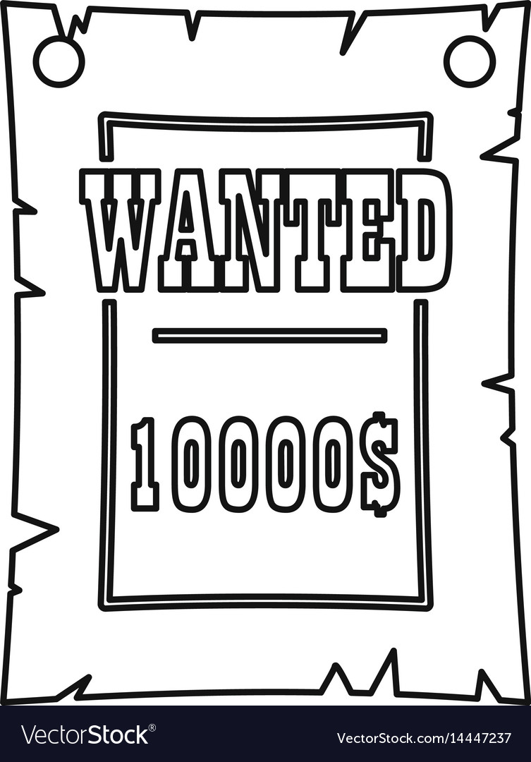 Vintage wanted poster icon outline style