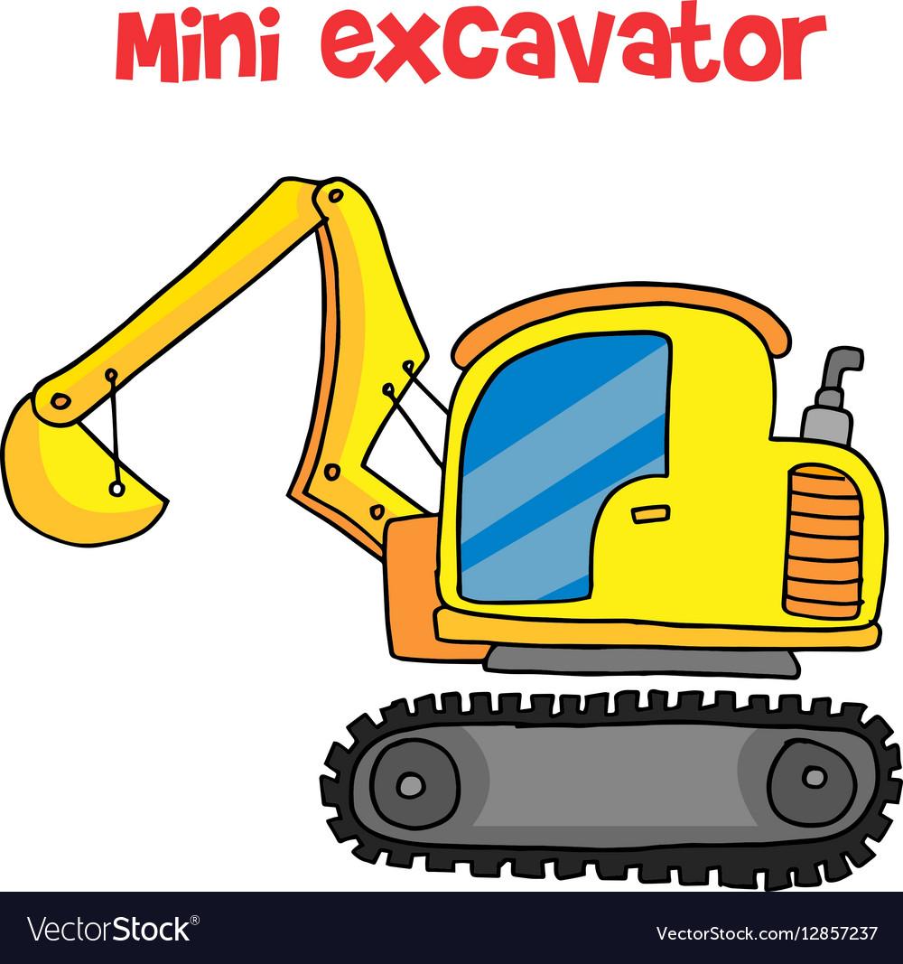 Yellow mini excavator cartoon vector image