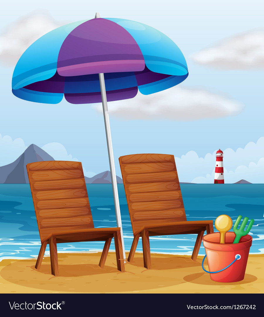 A beach with an umbrella and chairs vector image