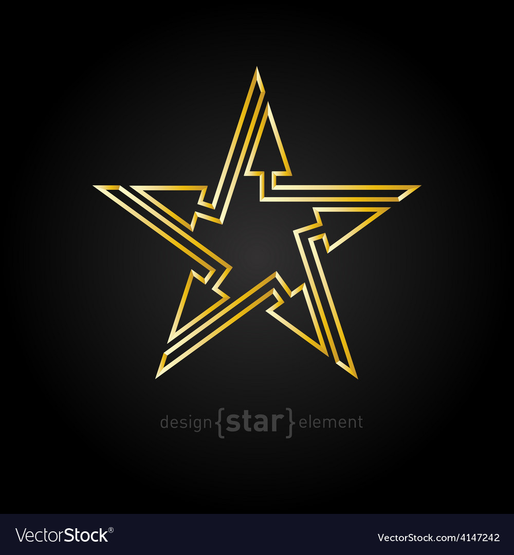 Abstract Gold star with arrows design element on