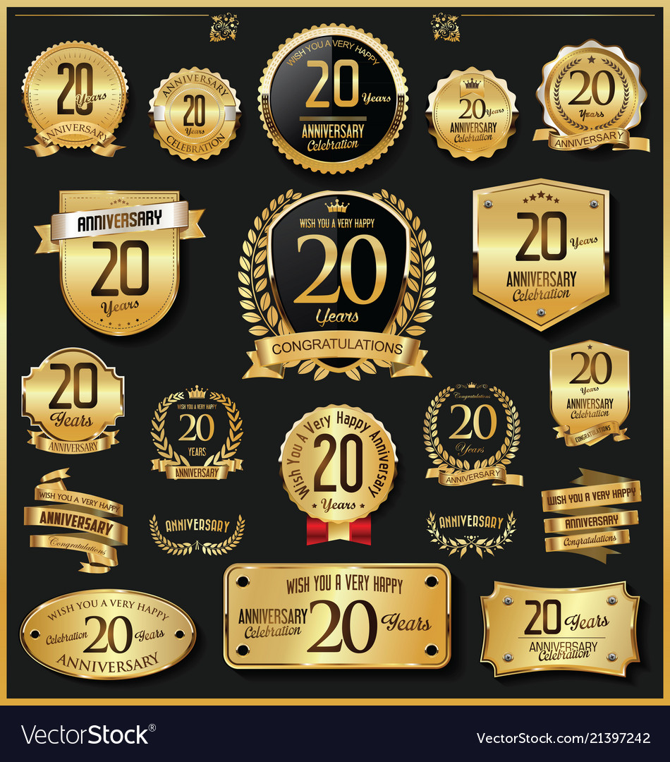 Anniversary retro vintage golden badges and