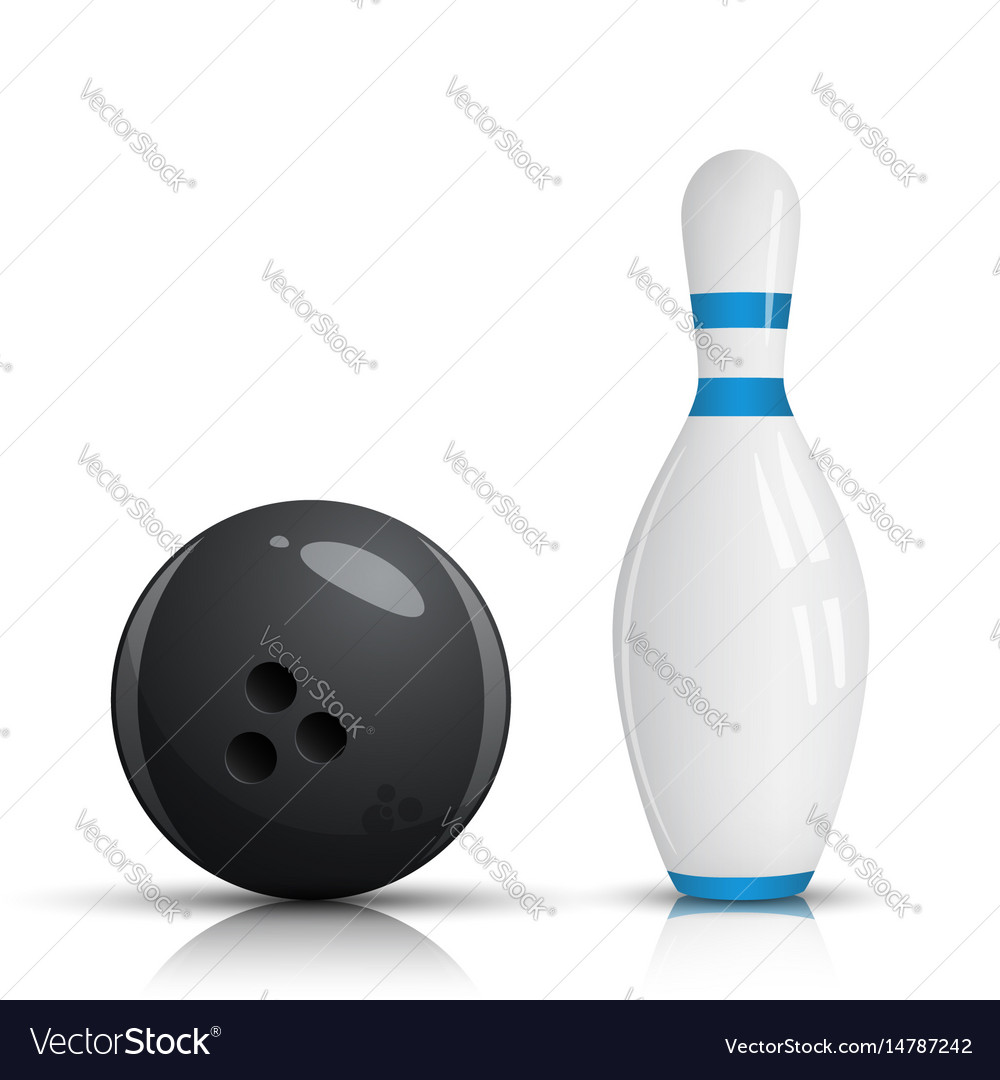 Bowling pin and ball vector image
