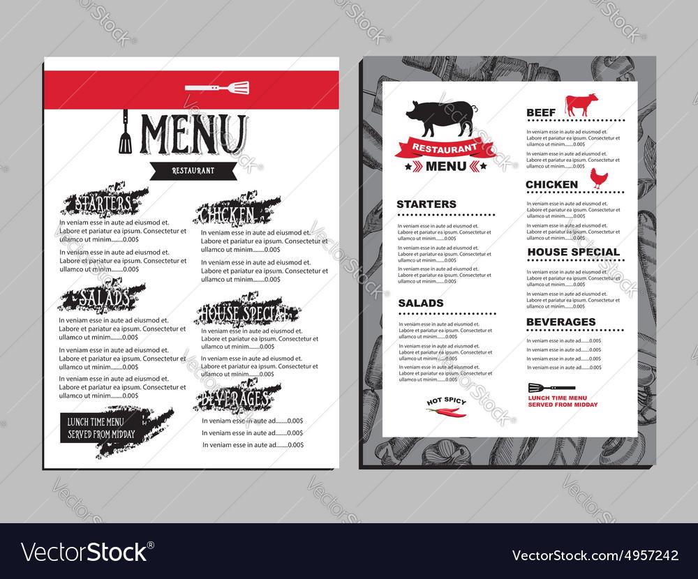 cafe menu restaurant brochure food design template