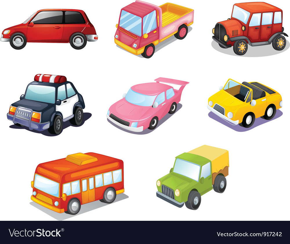 Cars isolated on white vector image
