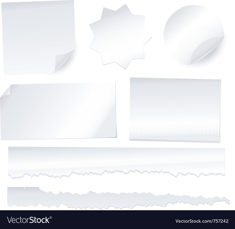 Collection of various white note papers on white b vector image