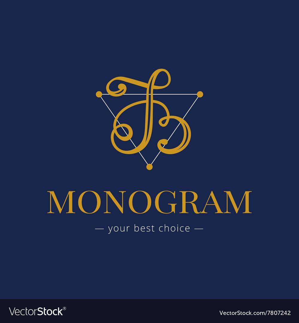 Elegant hand lettered B letter monogram