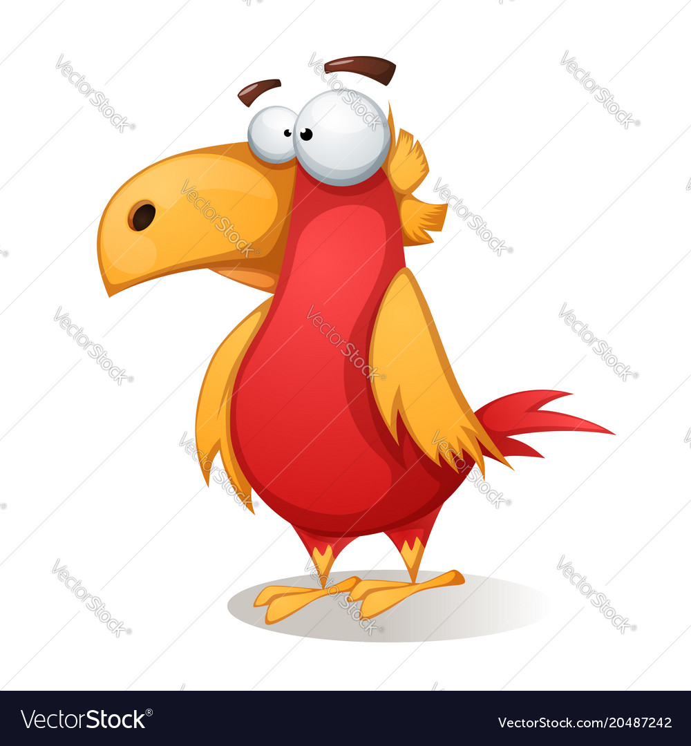 Funny cute crazy - cartoon bird vector