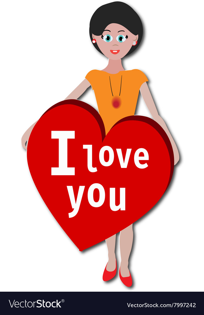 Girl With I Love You Heart Sticker Royalty Free Vector Image