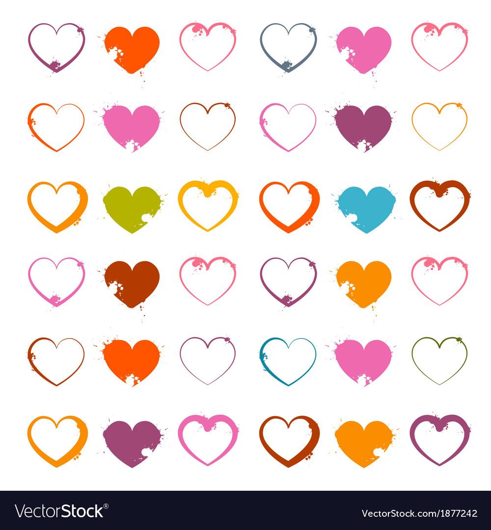 Grunge Heart Symbols Set Isolated on White
