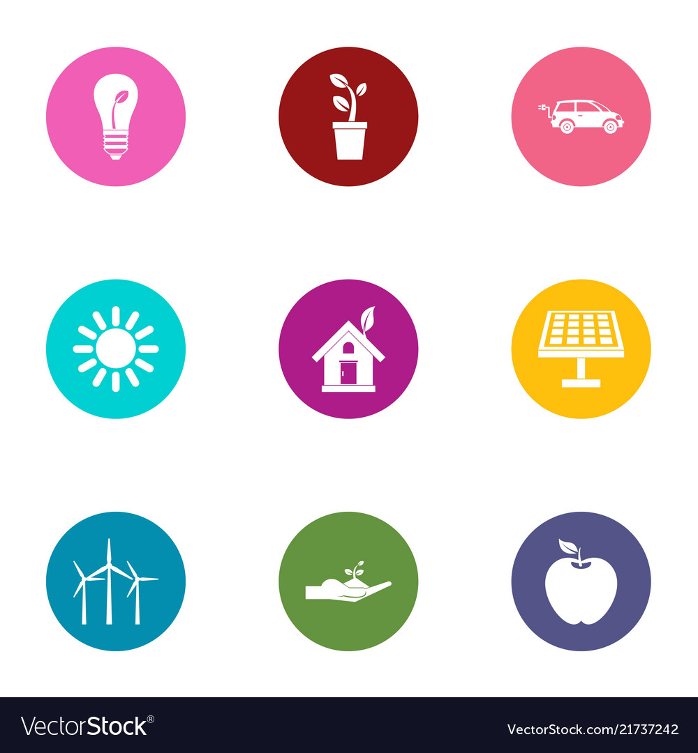 Heat energy icons set flat style