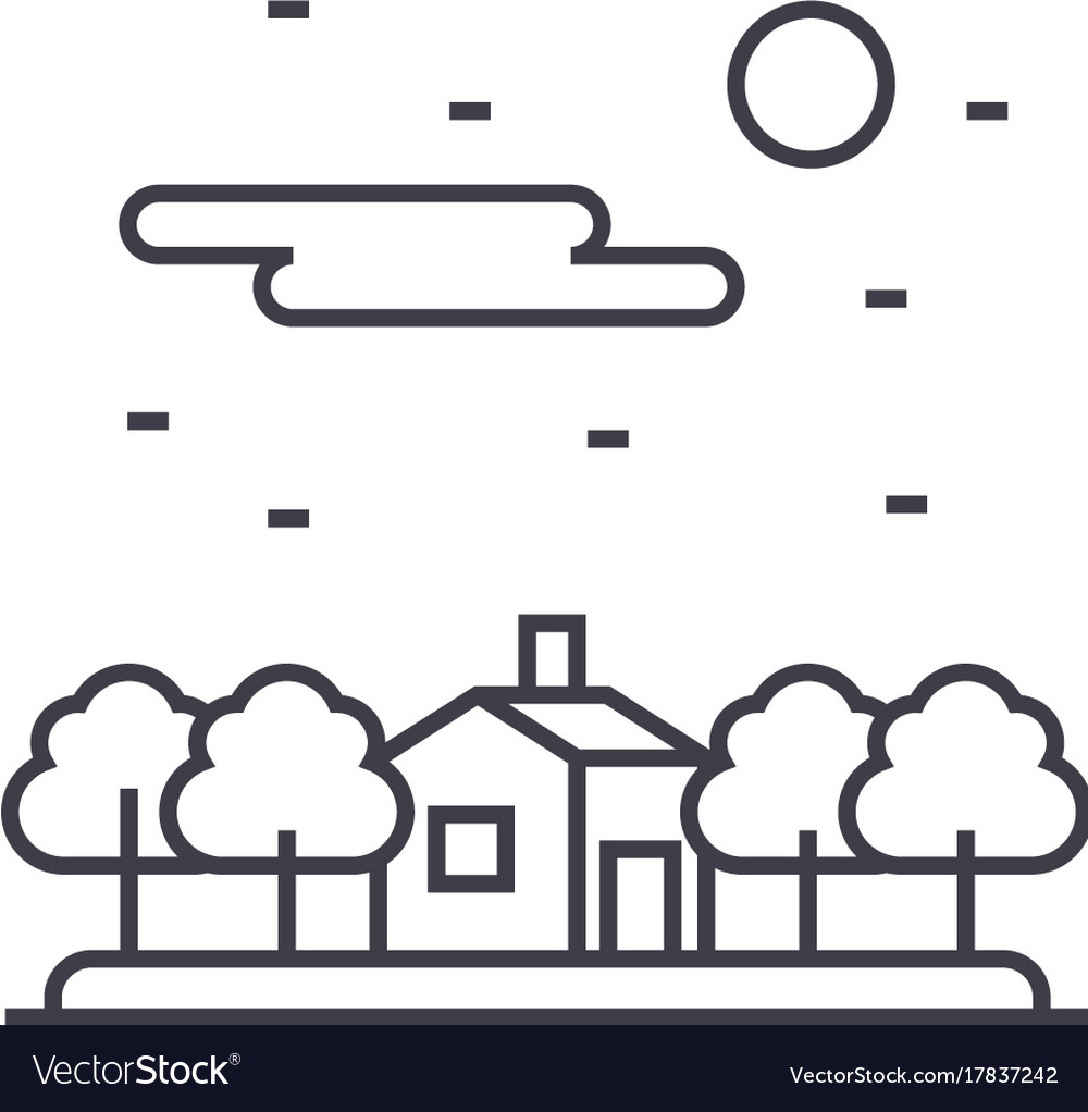 House in forest line icon sign vector image