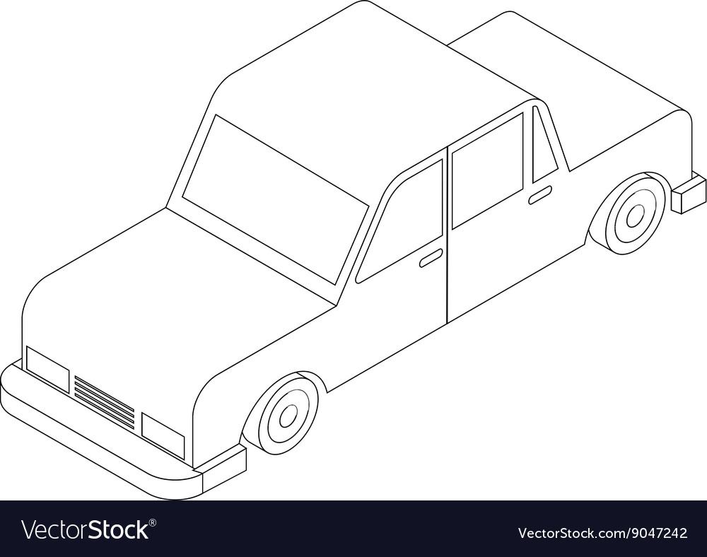 Isometric black and white car