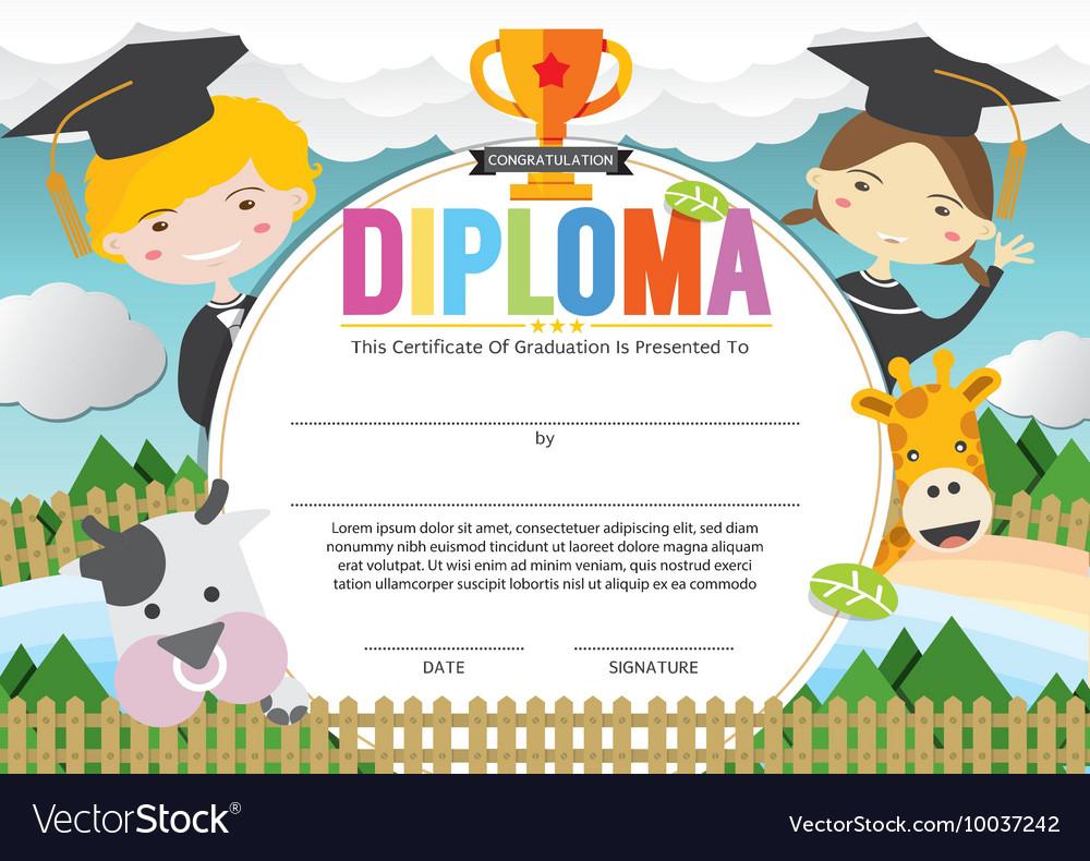 Kids diploma certificate template Royalty Free Vector Image For Preschool Graduation Certificate Template Free
