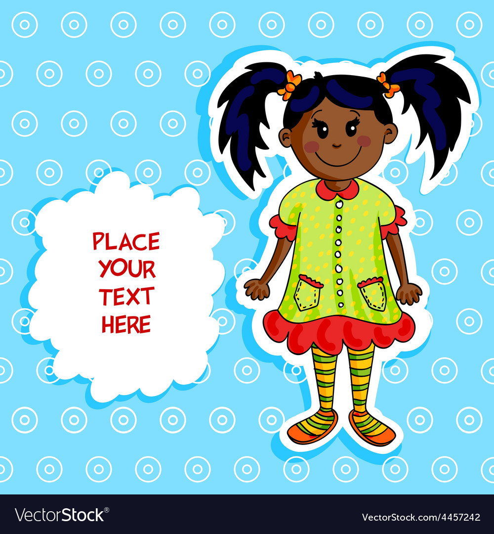 Little black girl card vector image