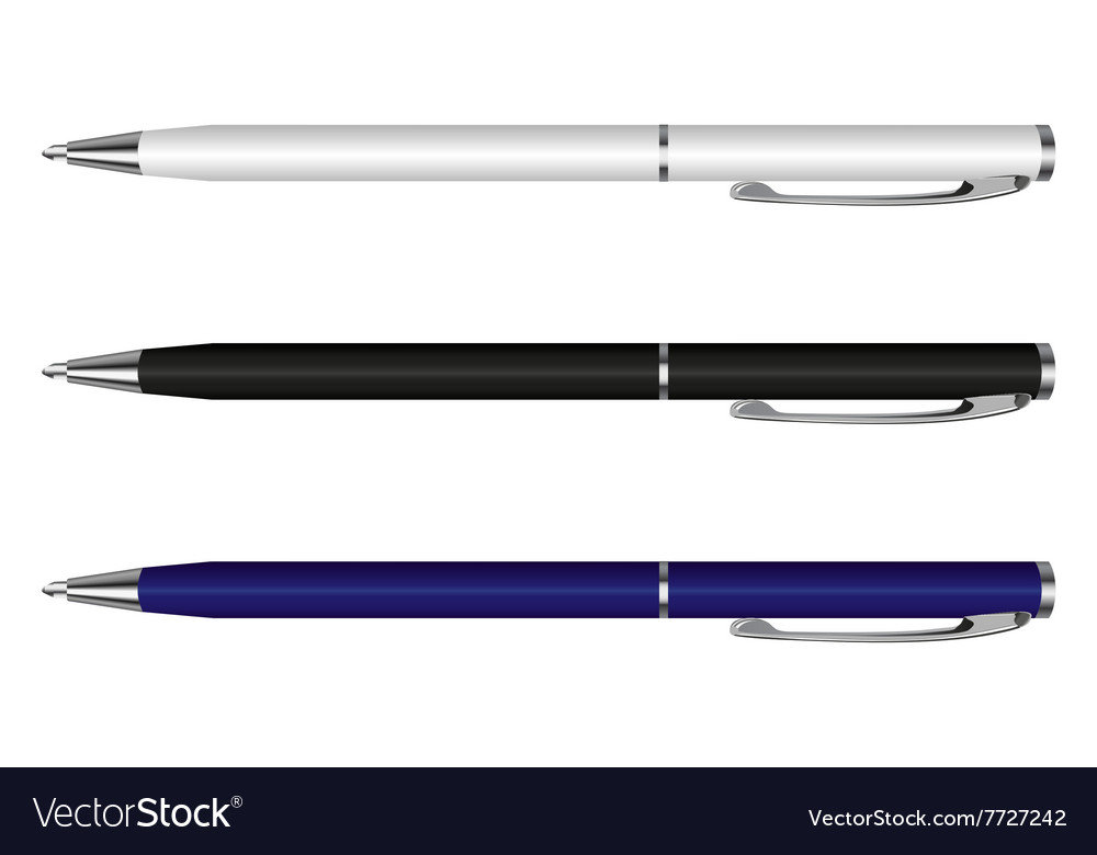 Pen white blue black