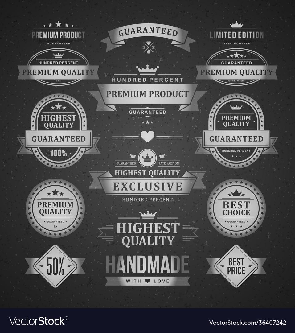 Premium products labels logos set vintage