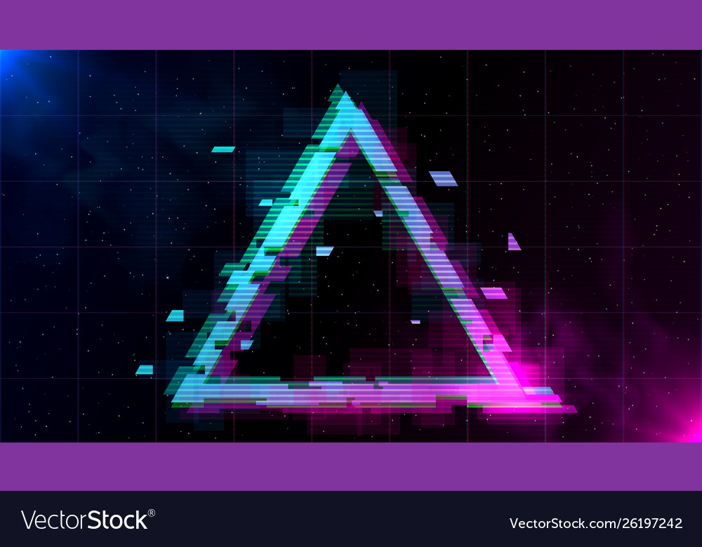 Retrowave glitch triangle with sparkling and blue
