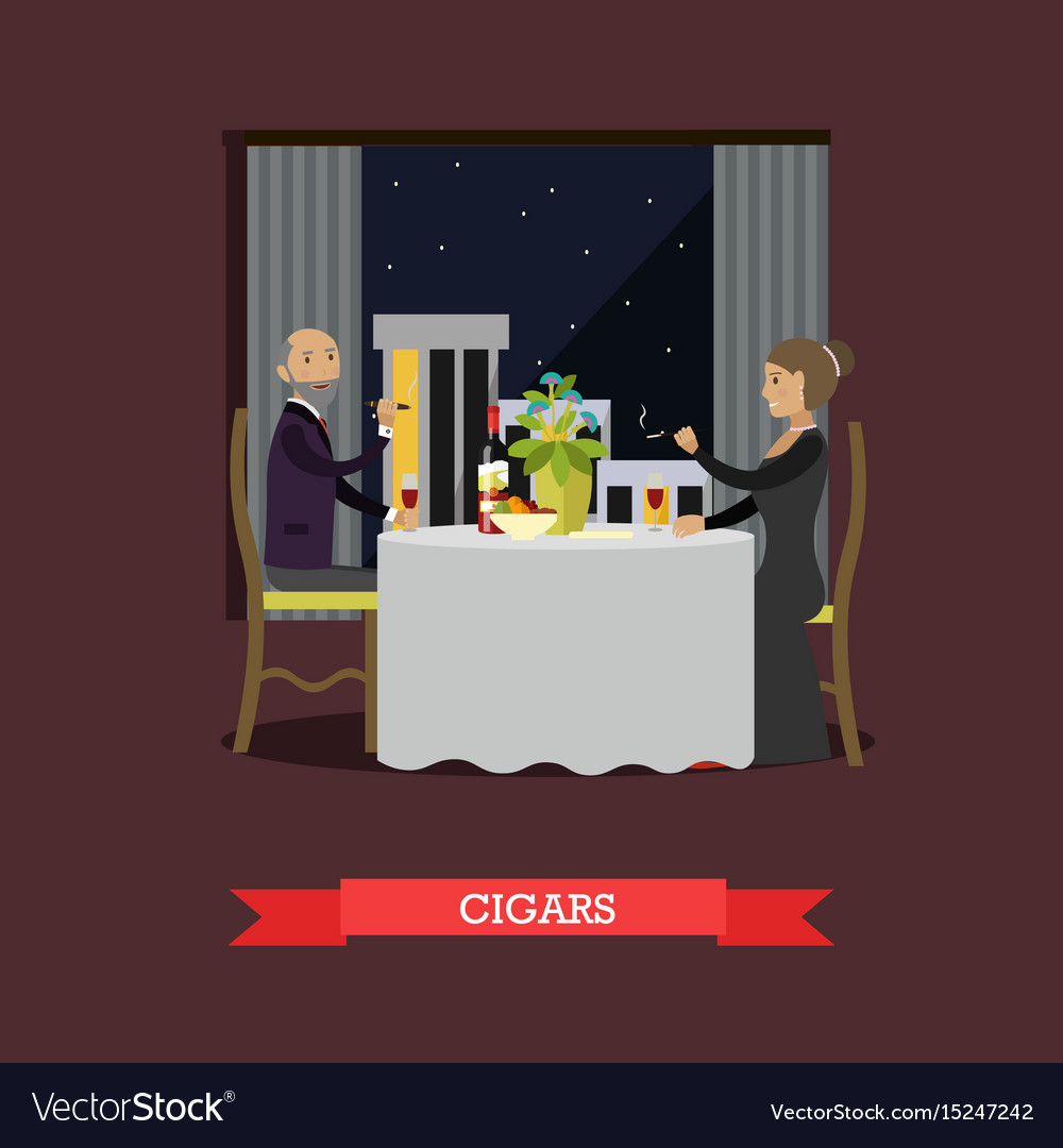 Smoking cigars in flat style vector image